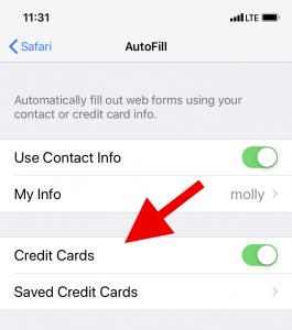 Safari AutoFill Credit Card