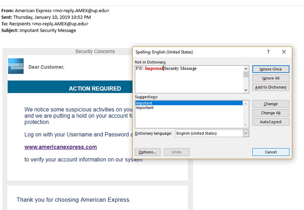 Fake Email Amex