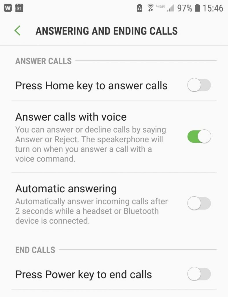 Samsung Voice Settings