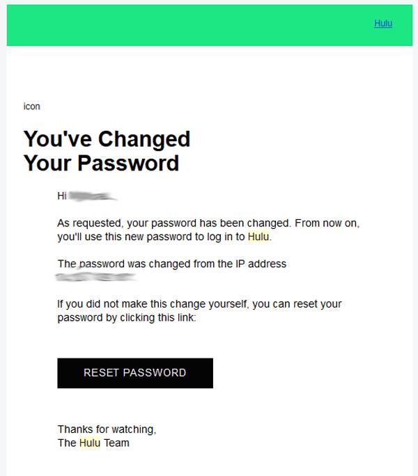 Hulu New Password Change