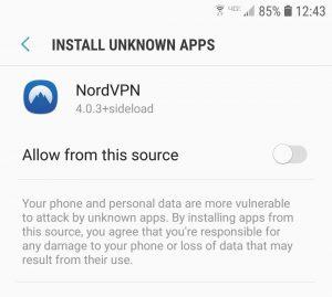 Screenshot NordVPN App Settings