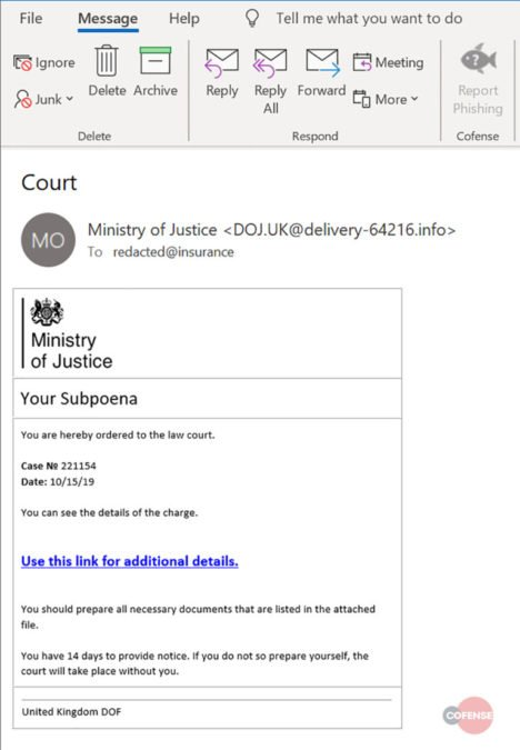 UK Ministry of Justice Subpoena Phishing Scam Screenshot
