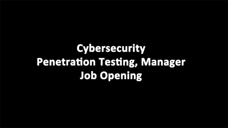 Cybersecurity Penetration Testing Manager