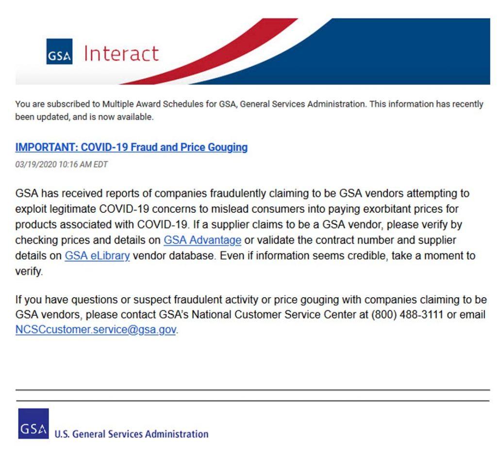 GSA Fraud email COVID-19