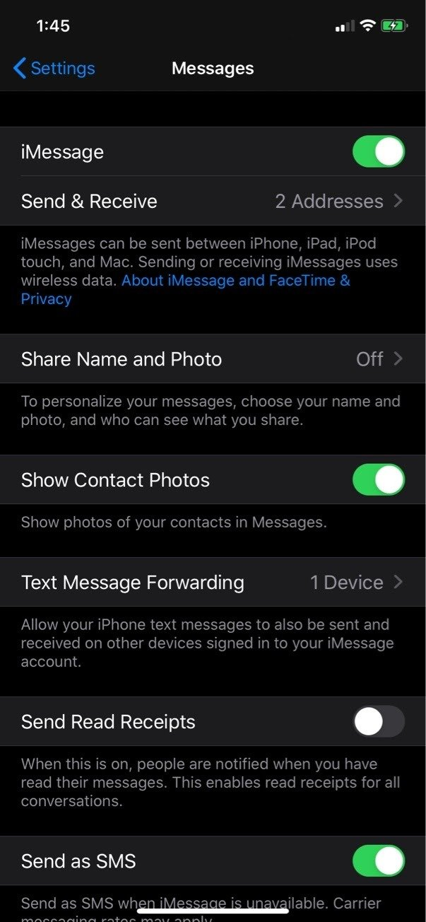 iPhone Message Settings