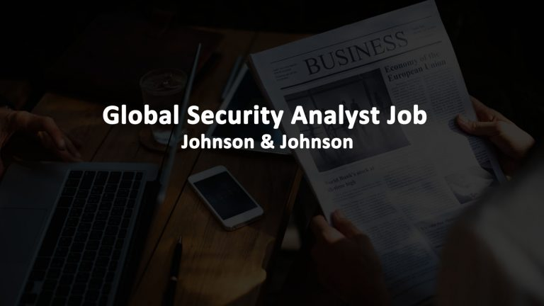 Global Security Analyst Job - Johnson & Johnson