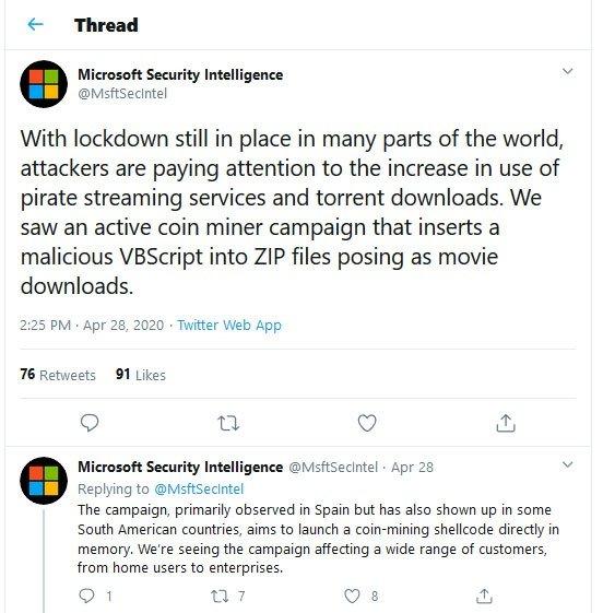 Microsoft Pirated Movie Malware