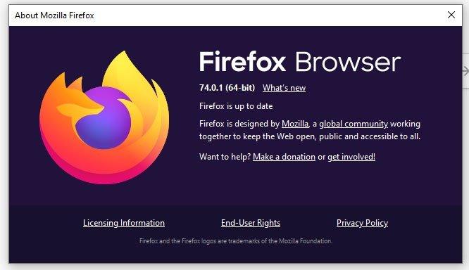 Mozilla Web Browser 74.0.1