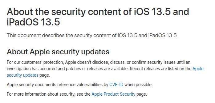 Apple Updates iOS 13.5 iPadOS 13.5
