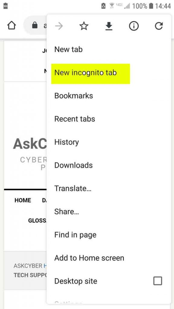Chrome Incognito New Tab Android