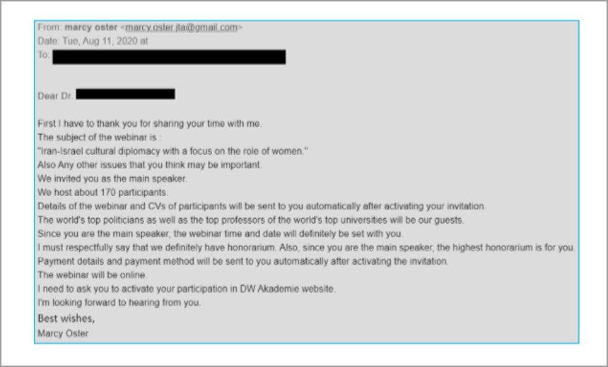 APT35 Fake message Charming Kitten hackers