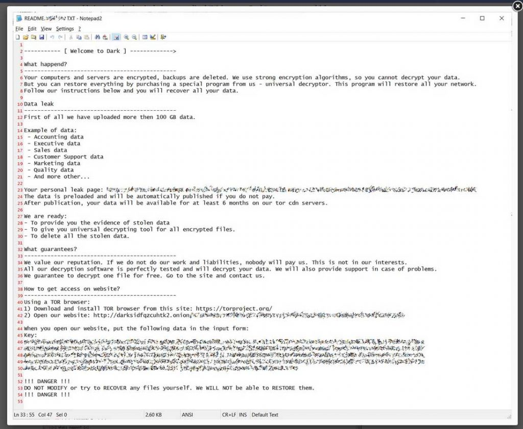 DarSide Ransomware Note