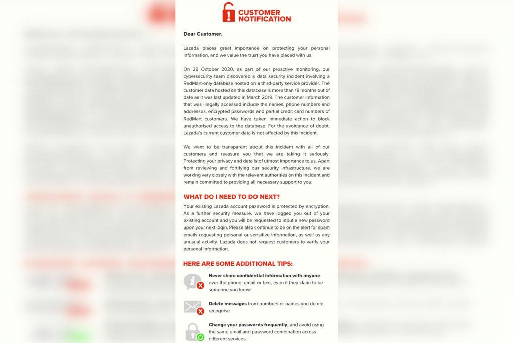 Lazada Redmart Data Breach. Notice