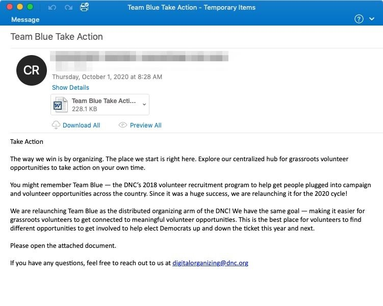 """Team Blue Take Action"" lure containing malicious Word doc attachment"