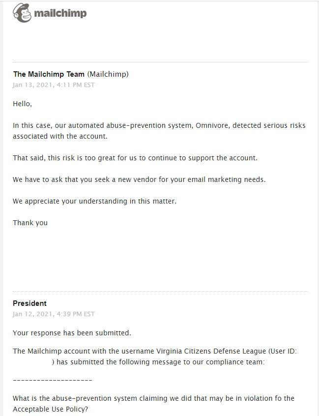 Mailchimp message VCDL
