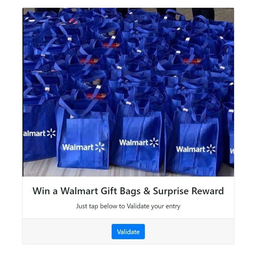 fake walmart gift bag scam